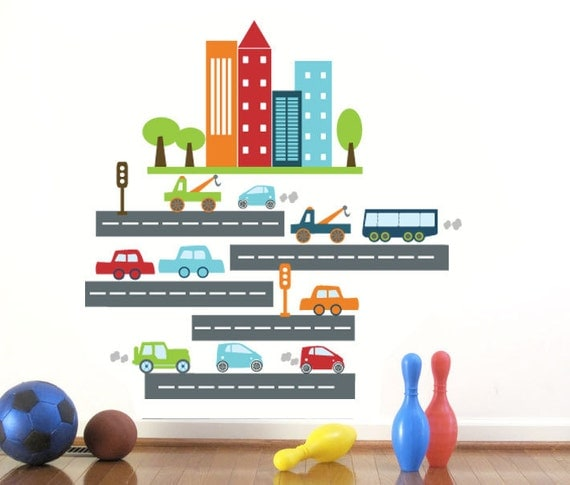 Car Decal for Kids, Rush Rush Traffic large, Transportation, Car, Bus, Road, Buildings, Playroom decor