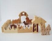 Miniature Farm Waldorf Wood Toy Play Set 19 Pieces