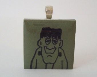 Halloween Jewelry Frankenstein Rubber Stamped Green Porcelain Tile Pendant