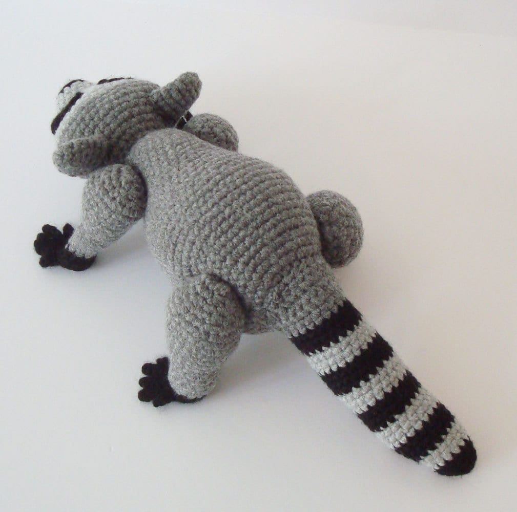 Amigurumi To Go Raccoon : Raccoon Crochet Pattern Pose Able Raccoon by OohLookItsARabbit