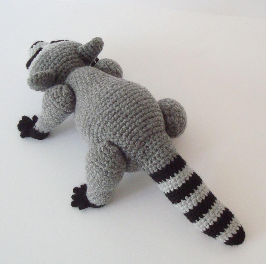 Amigurumi Raccoon : Raccoon Crochet Pattern Pose Able Raccoon by OohLookItsARabbit