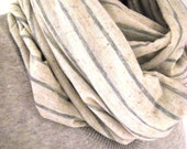 Infinity Scarf - Heather Grey and Taupe Stripe