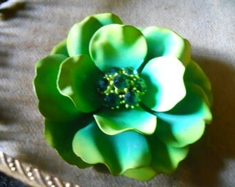 Vintage Green Brooch and Earing Set