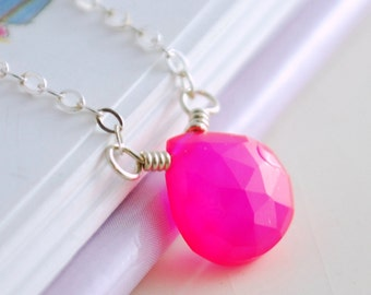 Simple Gemstone Necklace Child Children Girl Bright Fuchsia Hot Pink Chalcedony Sterling Silver Jewelry
