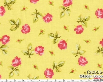 Hill Farm - Yellow Scattered Roses by Brenda Riddle for Lecien Fabrics