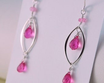 Hot Pink Quartz Earrings, Fuchsia, Bright, Semiprecious Gemstone, Marquise, Ruby, Wire Wrapped, Sterling Silver Jewelry, Free Shipping