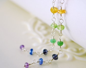 Extra Long Rainbow Earrings, Colorful Gemstone, Shoulder Dusters, Dangle, Wire Wrapped, Sterling Silver Jewelry, Free Shipping