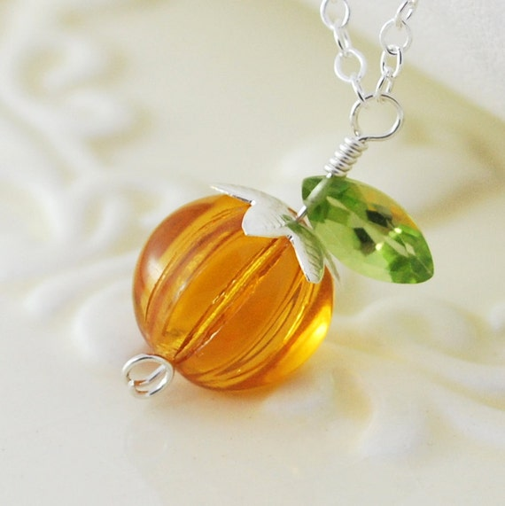 Halloween Jewelry Orange Pumpkin Necklace Glass Bead Genuine Peridot Wire Wrapped Sterling Silver Thanksgiving Autumn Complimentary Shipping