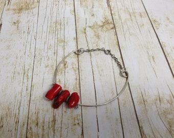 Red Coral Hoop Earring  Bracelet