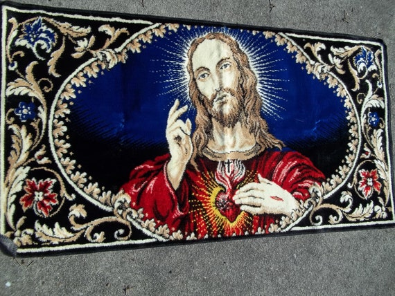 Vintage Religious Jesus Rug Or Wall Hanging Tapestry Made In