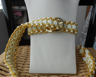 Macrame Belt in Gold and Off White