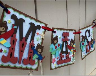 Handmade Banner - Custom made - GO GREEN - Name Banner Happy Birthday Baby Shower Aviator Teddy Theme