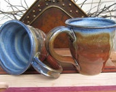 Set of 2 Twisted Cobalt Blue Iron Red Mugs EACH ONE UNIQUE