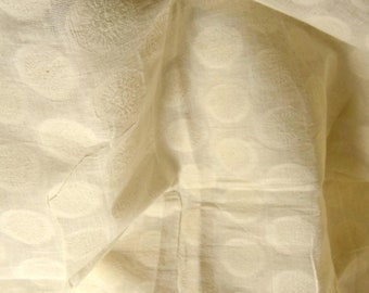 Cotton fabric for drapes. Organic cotton undyed. Floral Medallions. 44 inches wide.