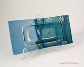 Fused Glass Dish - Teal Green and Slate Blue with Dichroic Glass Accents - Trinket Dish - Candle Dish