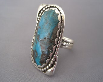 Vintage Sterling Large Turquoise Native American Ring