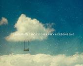 "Cloud Swing Stars Sky - Dreamy Starry Sky - Home Decor - Children Kid Decor  - Fine Art Photography - 8x8 8x10 11x14 12x12 ""Silver Lining"""