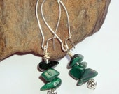 Malachite Gemstone Earrings Green Wire Wrapped Adjustable Energy