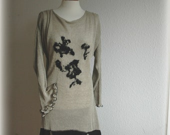 Asymmetrical Grey Whit Black Tunic Linen Knitted  With Felt Flower Appliques M L size Eco frendly