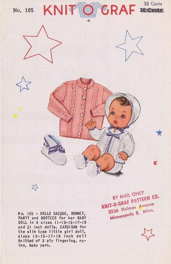 RARE Knit-O-Graf Doll's Clothes: Sacque, Cardigan, Bonnet, Panty, and Booties Knitting Pattern