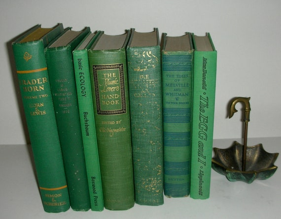 Vintage Emerald Green Book Stack 7 Books Vintage Cottage Home Library Decor
