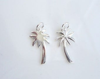2 pcs Sterling silver Palm tree charms (16x8mm)