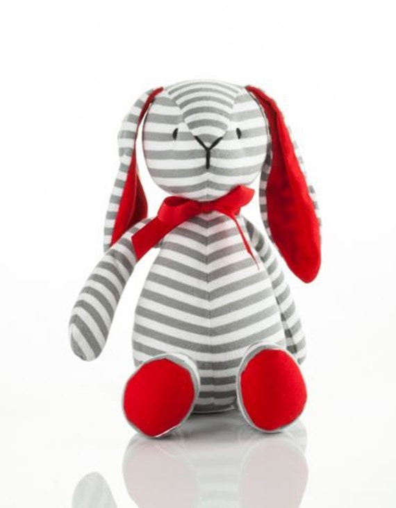 Bitbit The Rabbit Plush Toy in Grey Stripes and Red