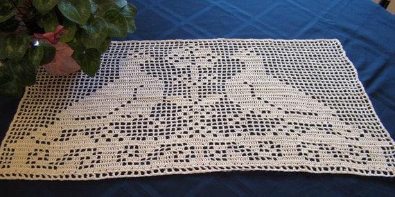 Mourning Doves filet crochet table runner