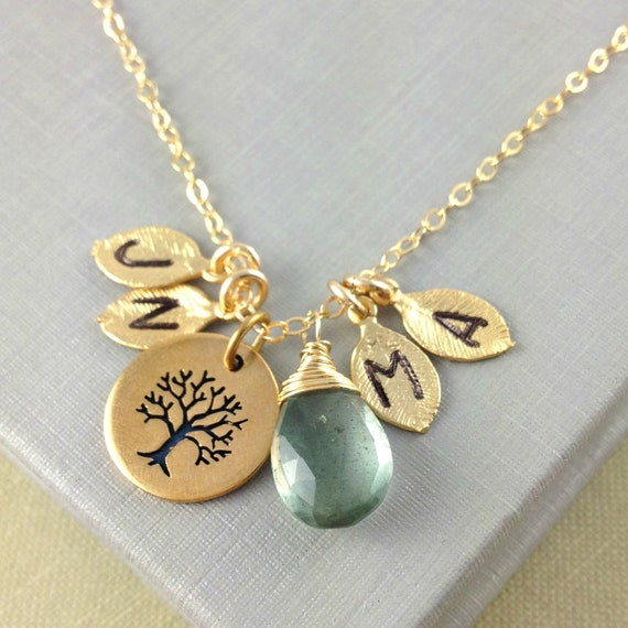 Items similar to family tree necklace initial necklace for Jewelry for mom for christmas