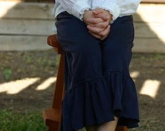 Navy blue knit ruffle pants big ruffles sizes 12m - 14 girls