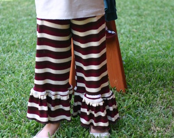 SALE brown, red, and  cream stripe knit ruffle pants sizes 12m - 14 girls