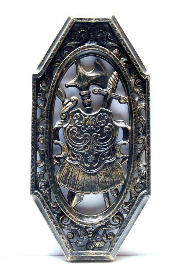 Homco Black Gold Wall Plaque Sheild Hollywood Regency