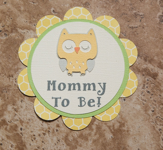Owl Theme Button Pin- yellow grey green- for Baby Shower or Birthday Party (Quantity 1)
