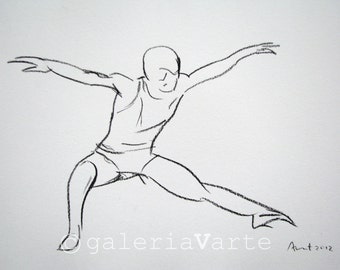 Original charcoal drawing - modern dance - painting - europeanstreetteam