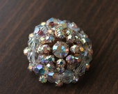 Vintage brooch with clear rinestones and AB clear stones