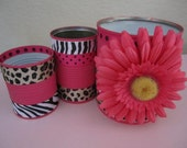 Private Listing for Katjya for a Set of 3 LEOPARD PRINT Decorative Buckets/Tins