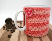 Crochet Cup Cozy - Coffee Cup Cozy - Pink Striped Coozie -Mason Jar Cozy - Koozie