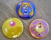 Sailor Moon Lockets 2.5 Inch Pins
