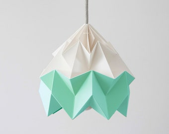 Moth origami lampshade Mint green and white