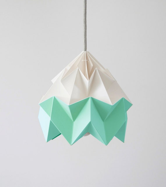 Moth origami lampshade mint green and white like this item mozeypictures