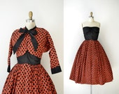 1950s Dress / 50s Strapless Cotton Dress
