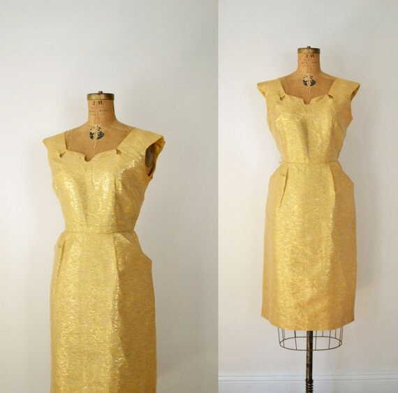 1950s Gold Wiggle Dress / 50s Cocktail Dress