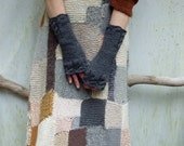 Highlander Gloves, choose your color, hand knitted merino wool fingerless gloves with cable details