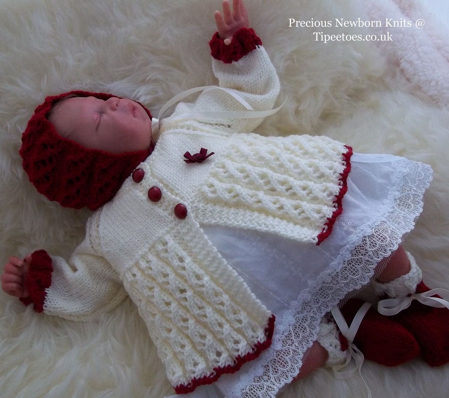 Knitting Sweater Design For Baby Girl : Baby Knitting Pattern Baby Girls or Reborn Dolls Sweater Set