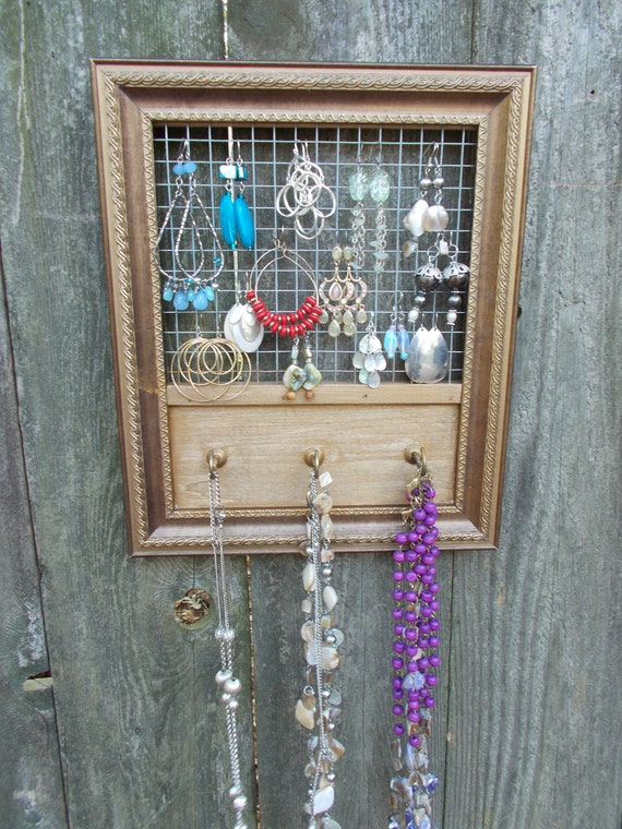Jewelry organizer repurposed hanger wall hanging for Repurposed jewelry holder