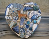 WOOF Mosaic Heart with Boxer Dog Figurine in Blues Mosaic Art