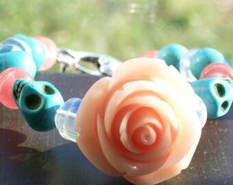 Sugar Skull Bracelet with Orange Blush Rose Halloween jewelry