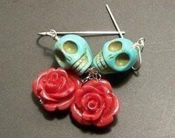 Sugar Skull Earring Skull and Rose Earrings