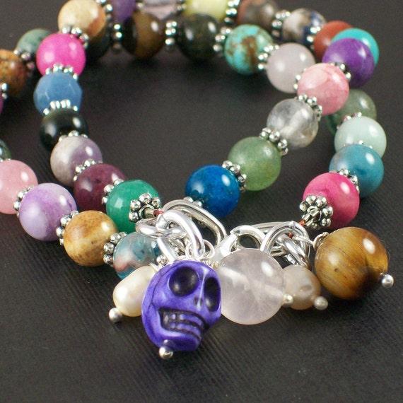 Skull Bracelet Set - Semi Precious Sugar Skull Bracelet Set