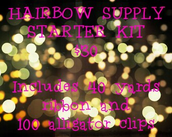 Hairbow Supply Starter Kit - 40 yards of ribbon and 100 alligator clips for 30 Dollars - Hairbow Supplies, Etc.